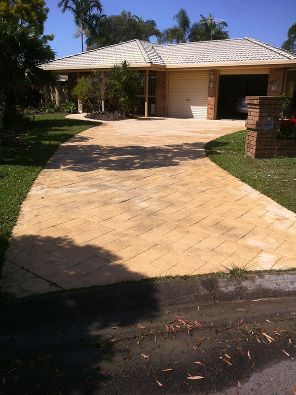 Paved Driveway After Pressure Cleaning