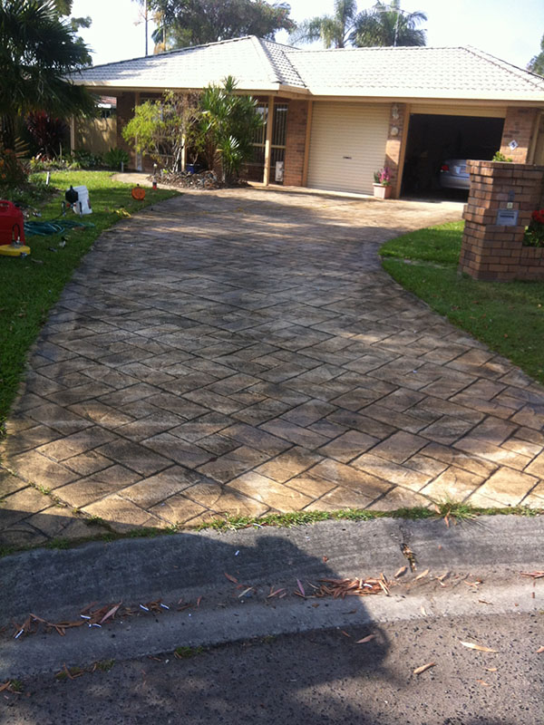 Paved Driveway Before Pressure Cleaning