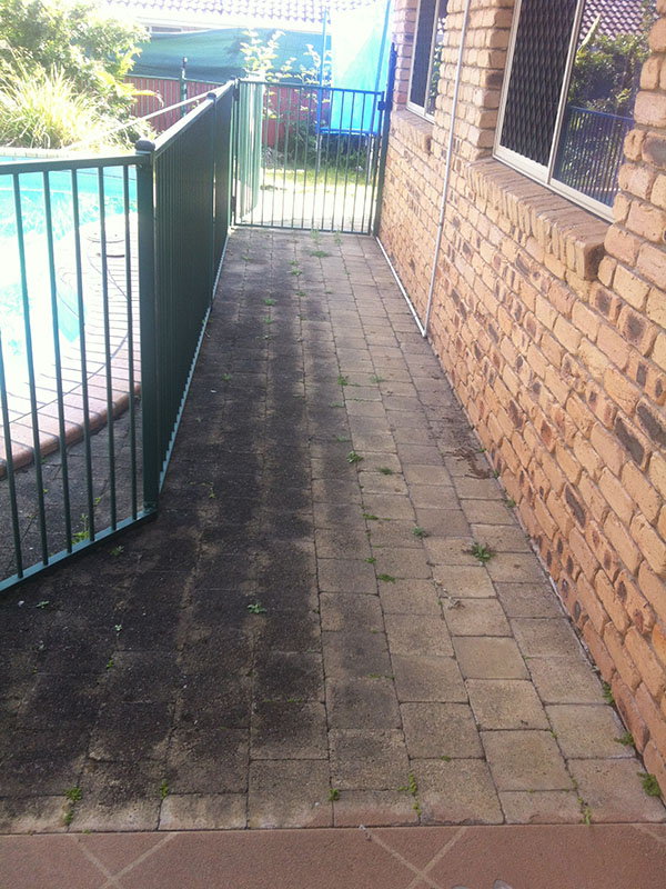 Paved Path Before Pressure Washing